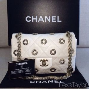 CHANEL White Swarovski Resort Charm Handbag RARE